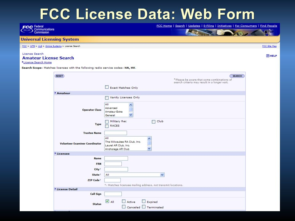 FCC License Data: Web Form