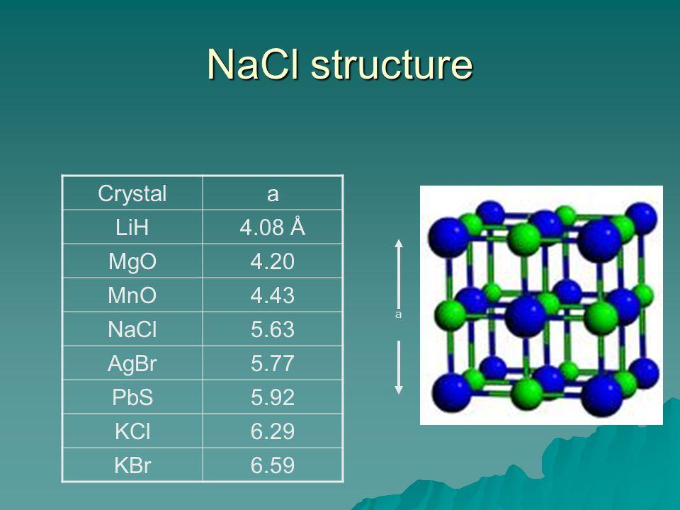 NaCl structure Crystala LiH4.08 Å MgO4.20 MnO4.43 NaCl5.63 AgBr5.77 PbS5.92 KCl6.29 KBr6.59 a