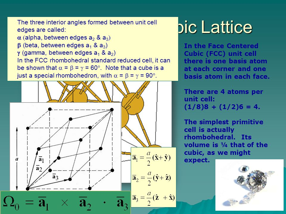 Face-centered Cubic Lattice In the Face Centered Cubic (FCC) unit cell there is one basis atom at each corner and one basis atom in each face. There a