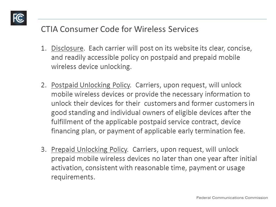 CTIA Consumer Code for Wireless Services (continued) 4.Notice.