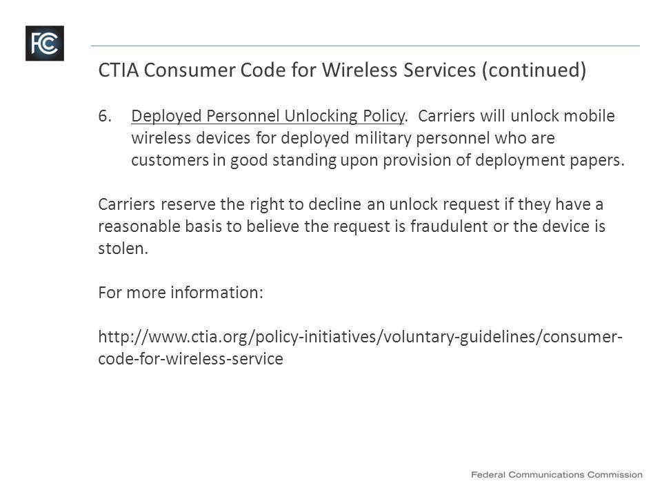 FCC Consumer Education Website https://www.fcc.gov/encyclopedia/cell-phone-unlocking