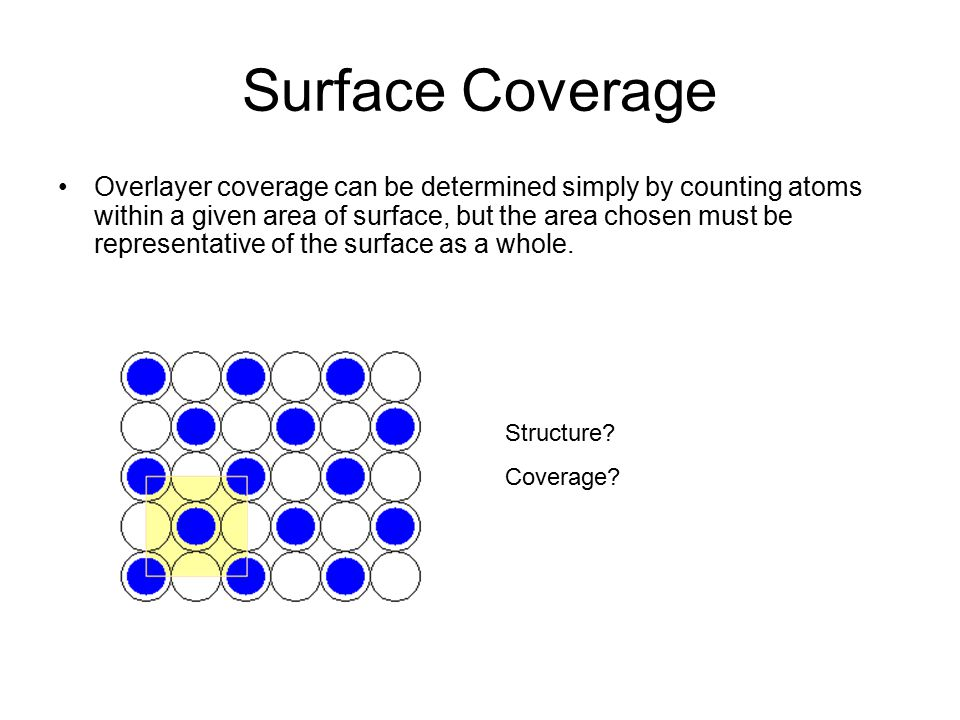 Surface Coverage Overlayer coverage can be determined simply by counting atoms within a given area of surface, but the area chosen must be representative of the surface as a whole.