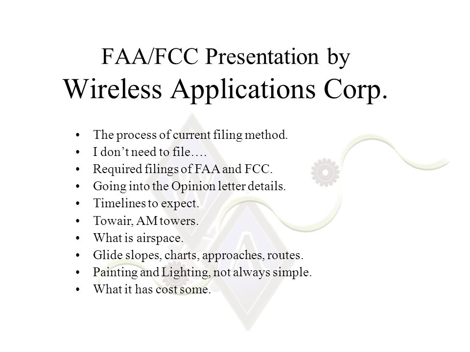FAA/FCC Presentation by Wireless Applications Corp.