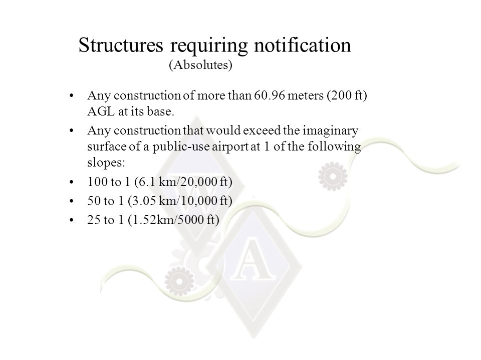 Structures requiring notification Any construction of more than 60.96 meters (200 ft) AGL at its base.
