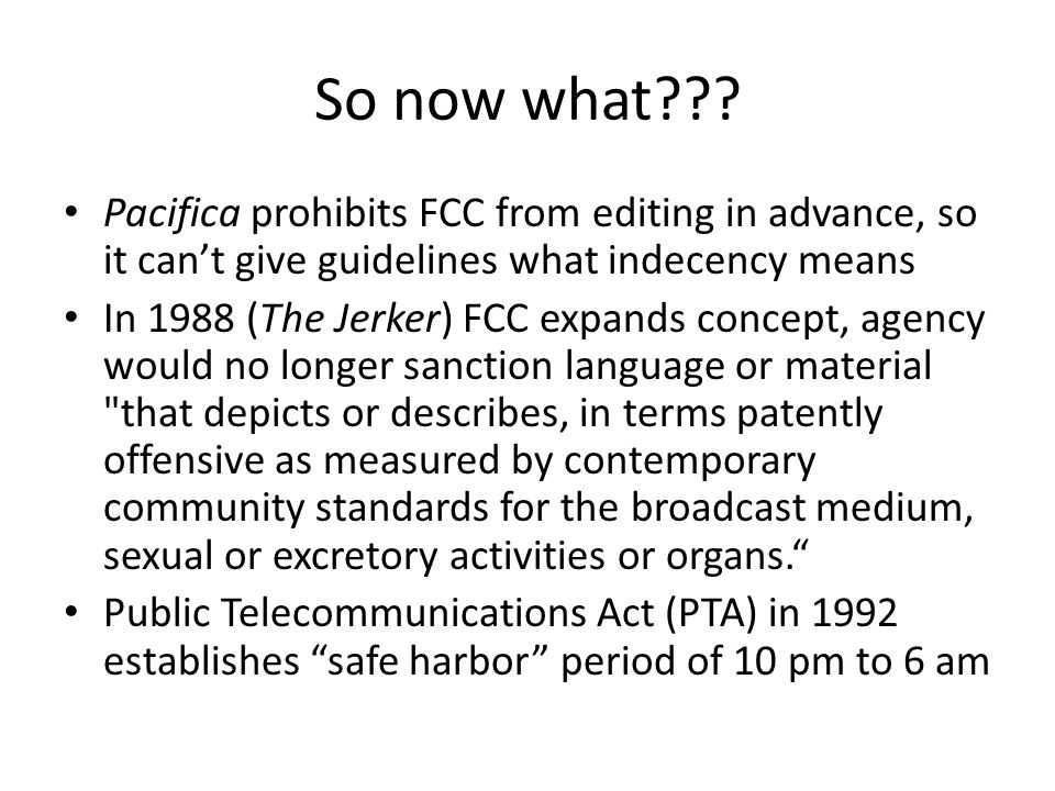 2004, Golden Globes decision After Bono declares this is really, really fucking brilliant on TV, FCC warns that fleeting expletives (single bleeps) no longer protected by First Amendment FCC sanctions Fox TV for Billboard Music Awards comments by Cher and Nicole Richie 2 nd Circuit Court of Appeals overrules decision 2009: Supreme Court says decision doesn't violate the Administrative Procedures Act, but may violate First Amendment Supremes also overturned 3 rd Circuit's stay of the fines for the Janet Jackson wardrobe malfunctions All cases now back at Appellate courts being reviewed on First Amendment grounds