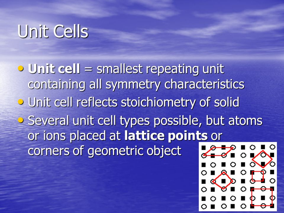Unit Cells Unit cell = smallest repeating unit containing all symmetry characteristics Unit cell = smallest repeating unit containing all symmetry characteristics Unit cell reflects stoichiometry of solid Unit cell reflects stoichiometry of solid Several unit cell types possible, but atoms or ions placed at lattice points or corners of geometric object Several unit cell types possible, but atoms or ions placed at lattice points or corners of geometric object