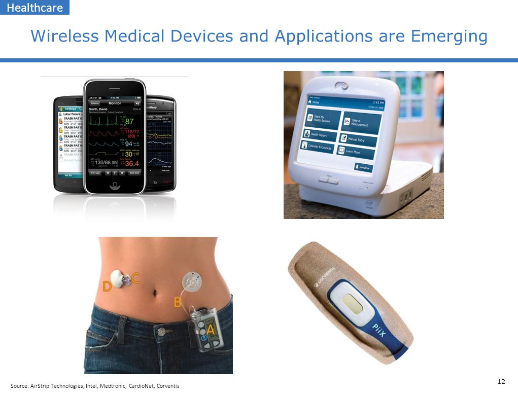 12 Wireless Medical Devices and Applications are Emerging Healthcare Source: AirStrip Technologies, Intel, Medtronic, CardioNet, Corventis