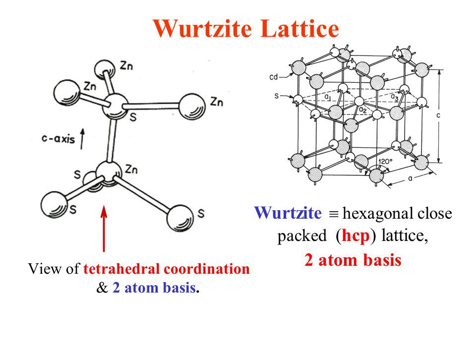 Wurtzite Lattice Wurtzite  hexagonal close packed (hcp) lattice, 2 atom basis View of tetrahedral coordination & 2 atom basis.