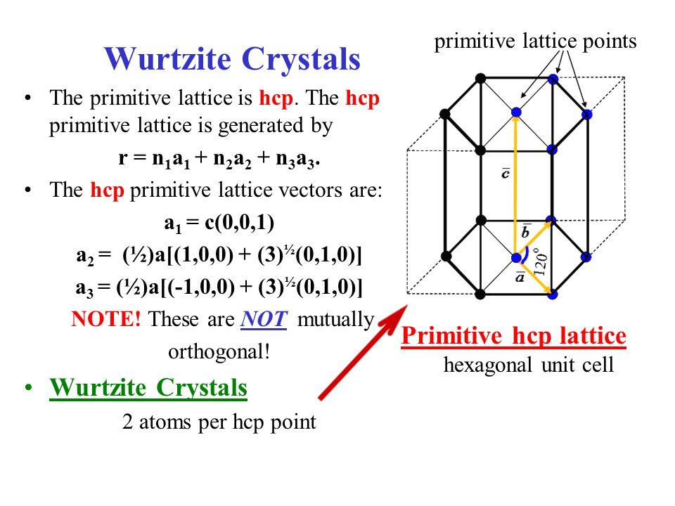 Wurtzite Crystals The primitive lattice is hcp. The hcp primitive lattice is generated by r = n 1 a 1 + n 2 a 2 + n 3 a 3. The hcp primitive lattice v