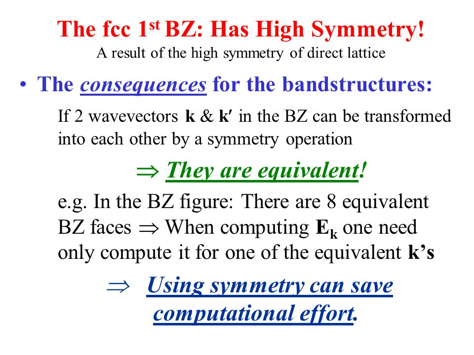 The fcc 1 st BZ: Has High Symmetry! A result of the high symmetry of direct lattice The consequences for the bandstructures: If 2 wavevectors k & k in