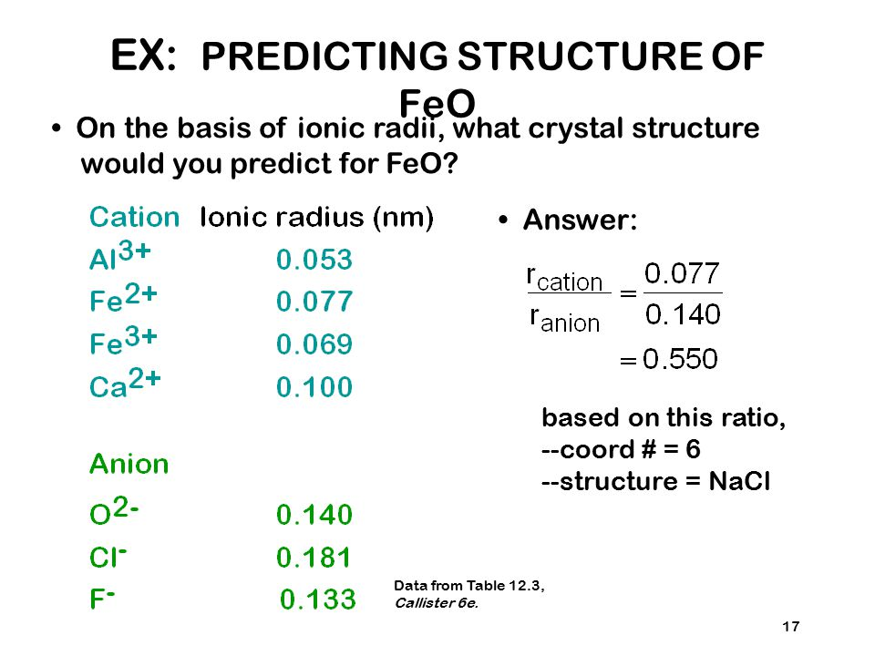 17 On the basis of ionic radii, what crystal structure would you predict for FeO? Answer: based on this ratio, --coord # = 6 --structure = NaCl Data f