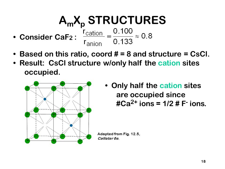 18 Consider CaF 2 : Based on this ratio, coord # = 8 and structure = CsCl. Result: CsCl structure w/only half the cation sites occupied. Only half the
