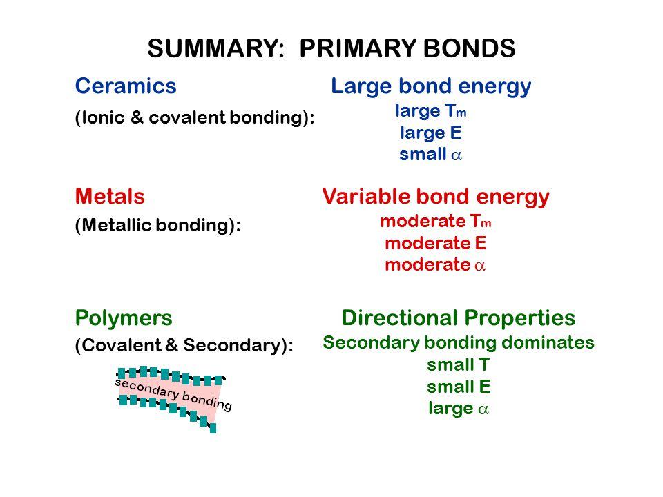 Ceramics (Ionic & covalent bonding): Metals (Metallic bonding): Polymers (Covalent & Secondary): Large bond energy large T m large E small  Variable