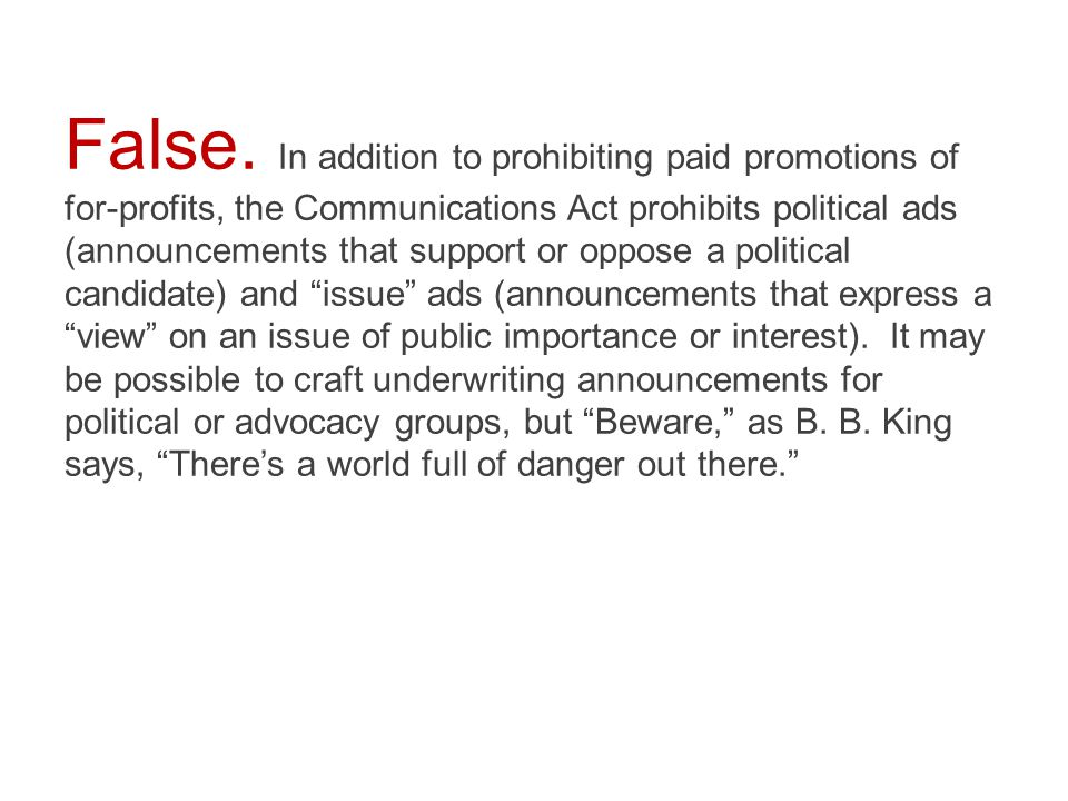  True  False Political parties' campaign committees and public interest groups are non-profits.