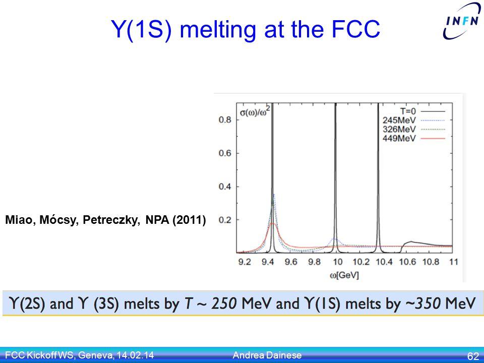 Y(1S) melting at the FCC FCC Kickoff WS, Geneva, 14.02.14 Andrea Dainese 62 Miao, Mócsy, Petreczky, NPA (2011)