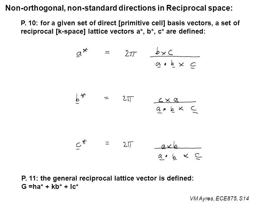 VM Ayres, ECE875, S14 P. 10: for a given set of direct [primitive cell] basis vectors, a set of reciprocal [k-space] lattice vectors a*, b*, c* are de