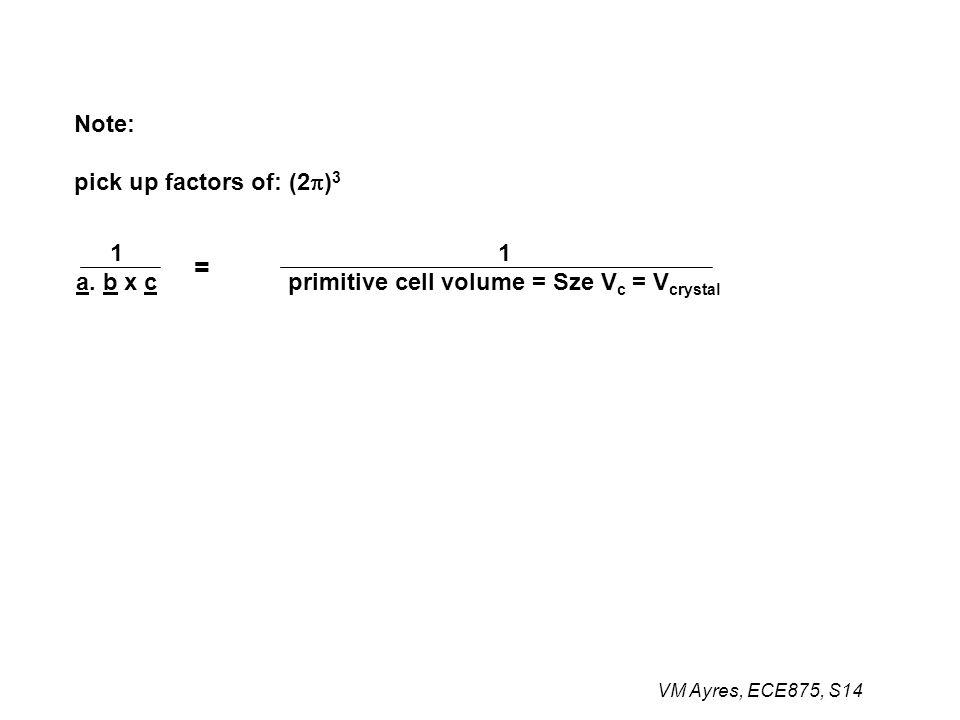 Note: pick up factors of: (2  ) 3 1 a. b x c 1 primitive cell volume = Sze V c = V crystal =