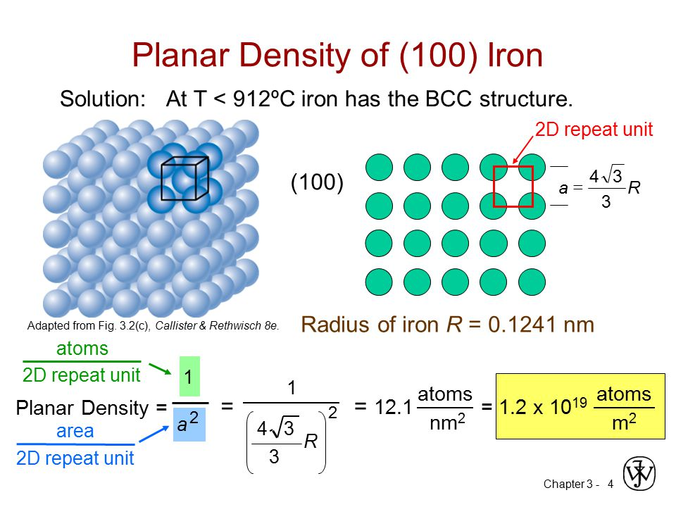 Chapter 3 -4 Planar Density of (100) Iron Solution: At T < 912ºC iron has the BCC structure. (100) Radius of iron R = 0.1241 nm R 3 34 a  Adapted fro