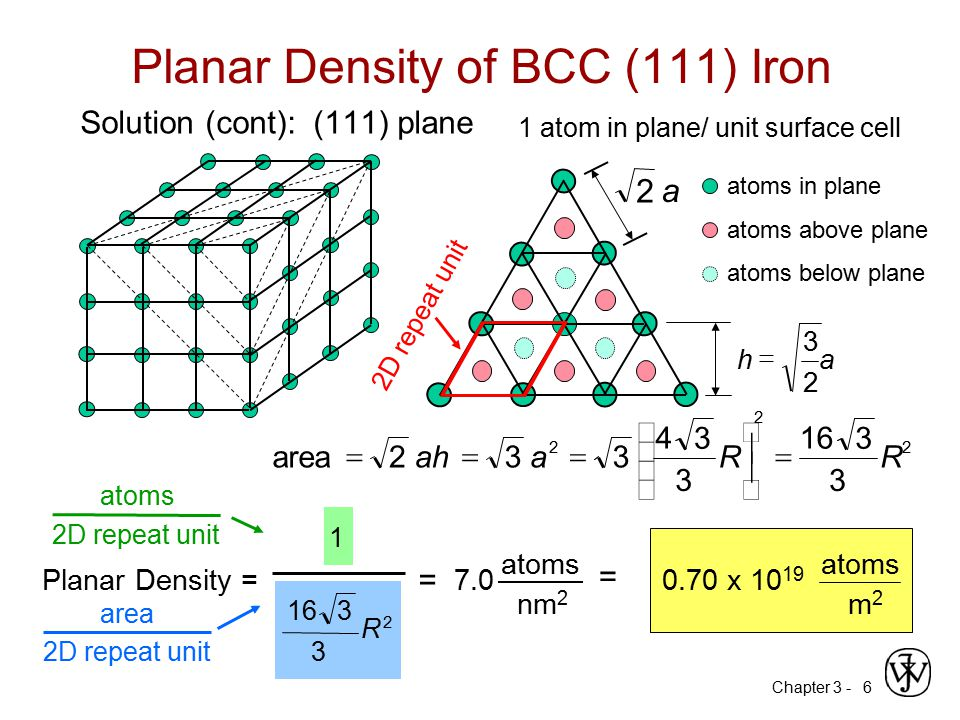 Chapter 3 -6 Planar Density of BCC (111) Iron Solution (cont): (111) plane 1 atom in plane/ unit surface cell 33 3 2 2 R 3 16 R 3 4 2 a3ah2area   