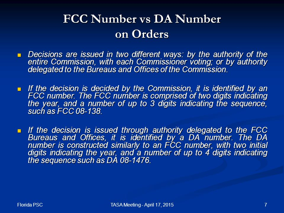 Order DA 14-1899 Released December 29, 2014 In this order, the FCC adopted, based on emergency circumstances, a mid-year adjustment of the per-minute rate of compensation from the Interstate Telecommunications Relay Service Fund for the provision of IP Relay service.