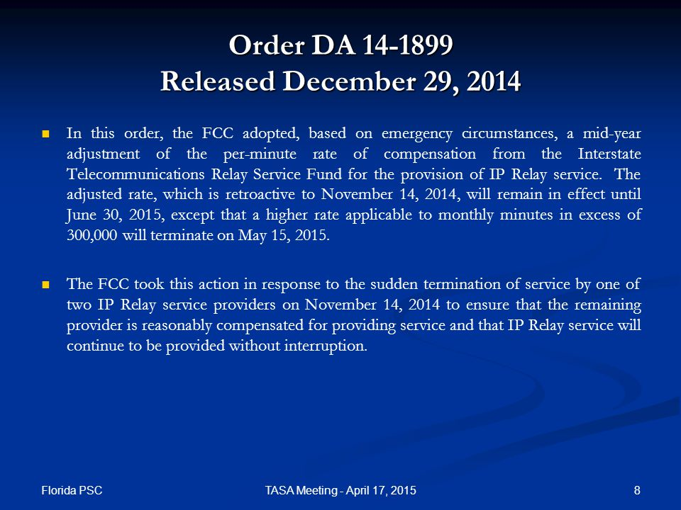 Order DA 15-173 Released February 6, 2015  The FCC granted in part a request by Sorenson Communications, Inc.