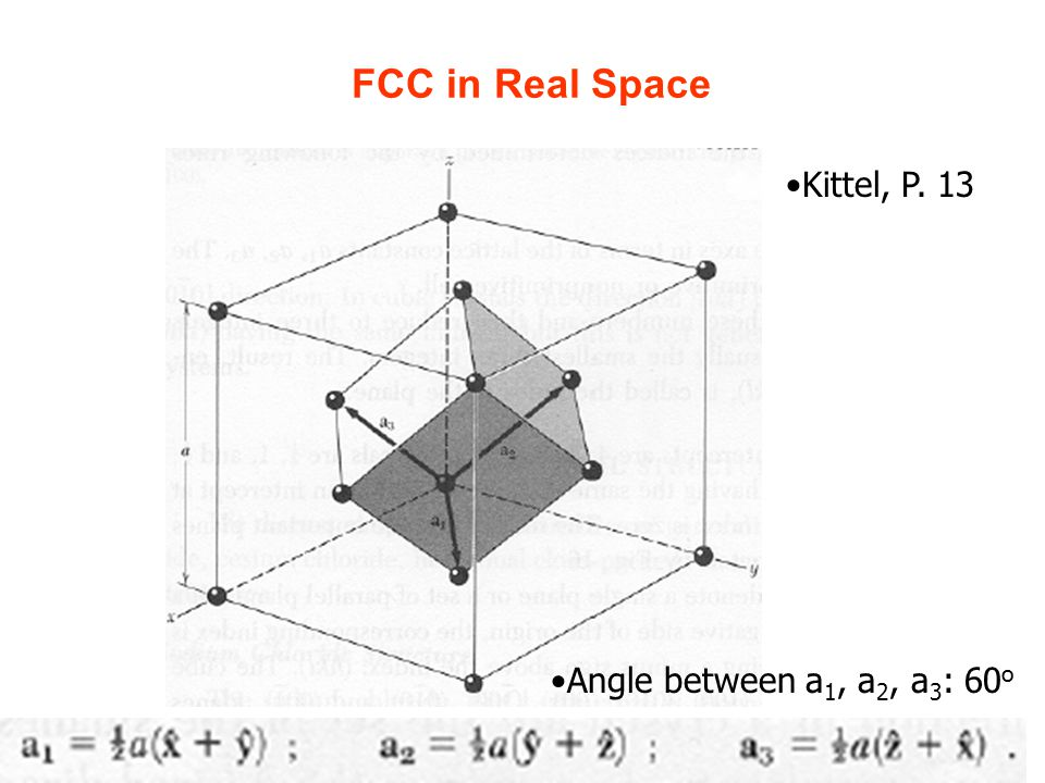 8 FCC in Real Space Angle between a 1, a 2, a 3 : 60 o Kittel, P. 13
