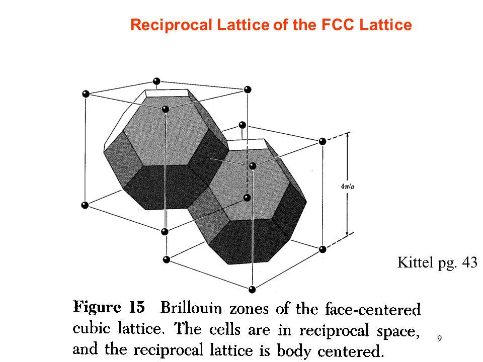 9 Kittel pg. 43 Reciprocal Lattice of the FCC Lattice