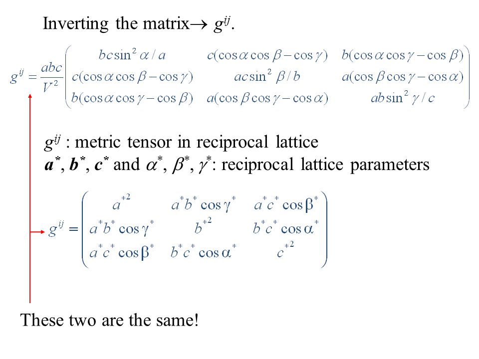 Inverting the matrix  g ij. g ij : metric tensor in reciprocal lattice a *, b *, c * and  *,  *,  * : reciprocal lattice parameters These two are