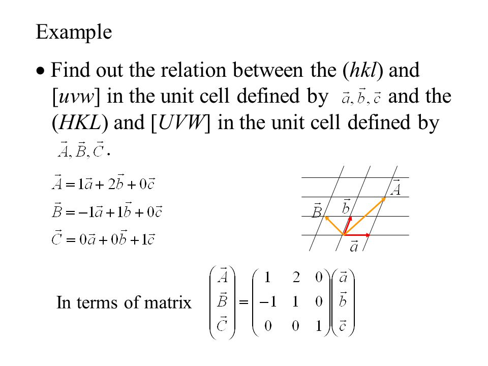  Find out the relation between the (hkl) and [uvw] in the unit cell defined by and the (HKL) and [UVW] in the unit cell defined by. In terms of matri