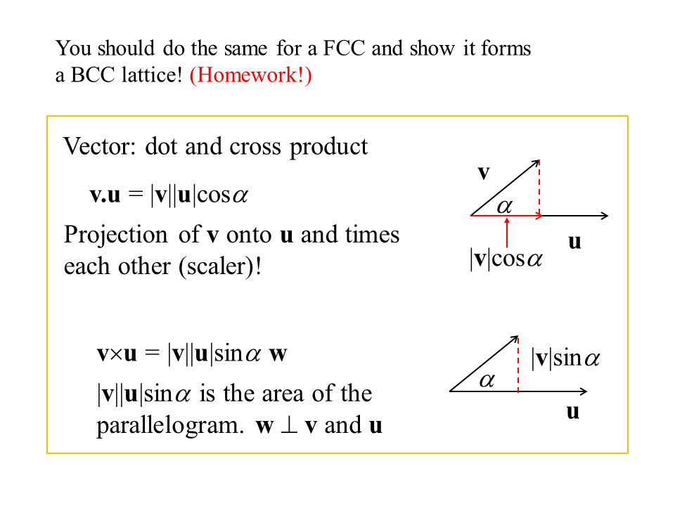 You should do the same for a FCC and show it forms a BCC lattice! (Homework!) Vector: dot and cross product u v v.u = |v||u|cos  |v|cos  Projection