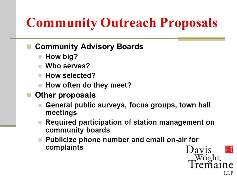 Community Outreach Proposals Community Advisory Boards How big.