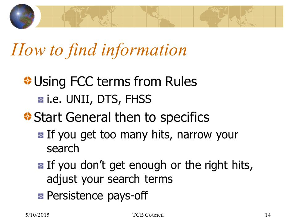 How to find information Using FCC terms from Rules i.e.