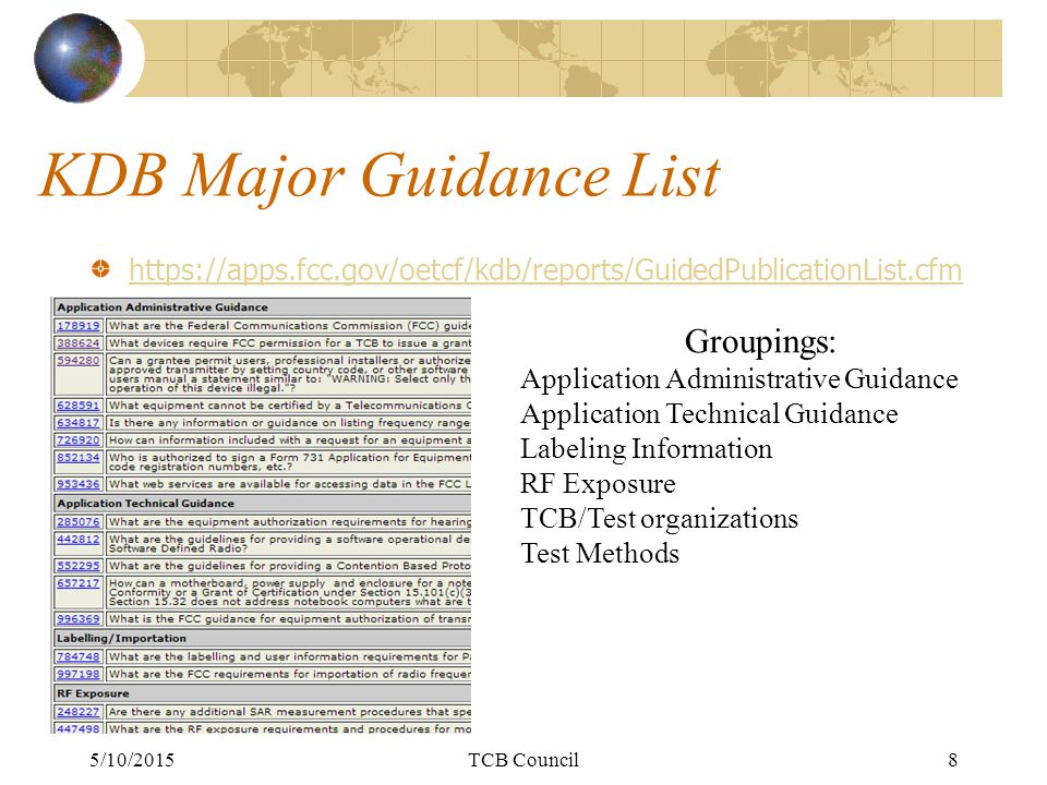 KDB Major Guidance List https://apps.fcc.gov/oetcf/kdb/reports/GuidedPublicationList.cfm 5/10/2015TCB Council8 Groupings: Application Administrative Guidance Application Technical Guidance Labeling Information RF Exposure TCB/Test organizations Test Methods