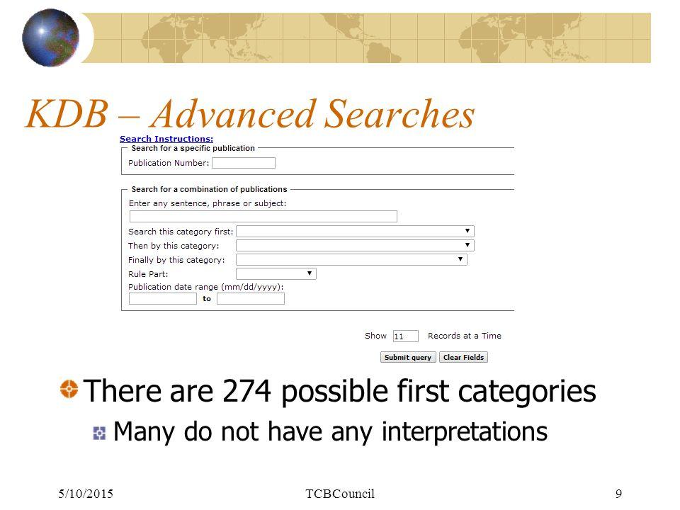 KDB Searches – Basic Search 5/10/2015TCB Council10