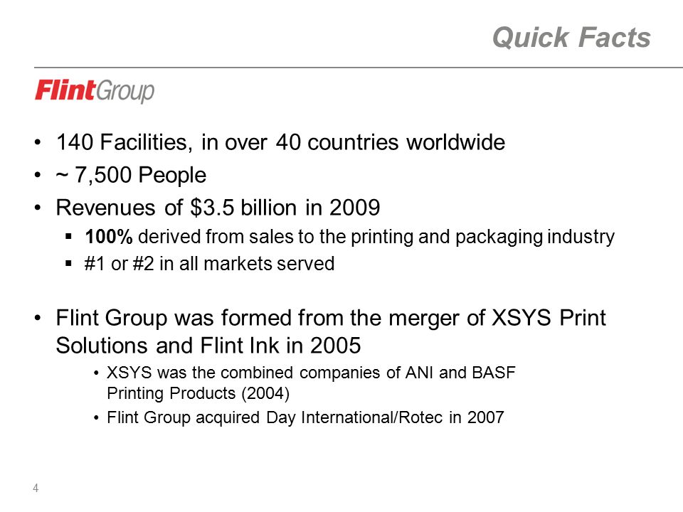 4 Quick Facts 140 Facilities, in over 40 countries worldwide ~ 7,500 People Revenues of $3.5 billion in 2009  100% derived from sales to the printing