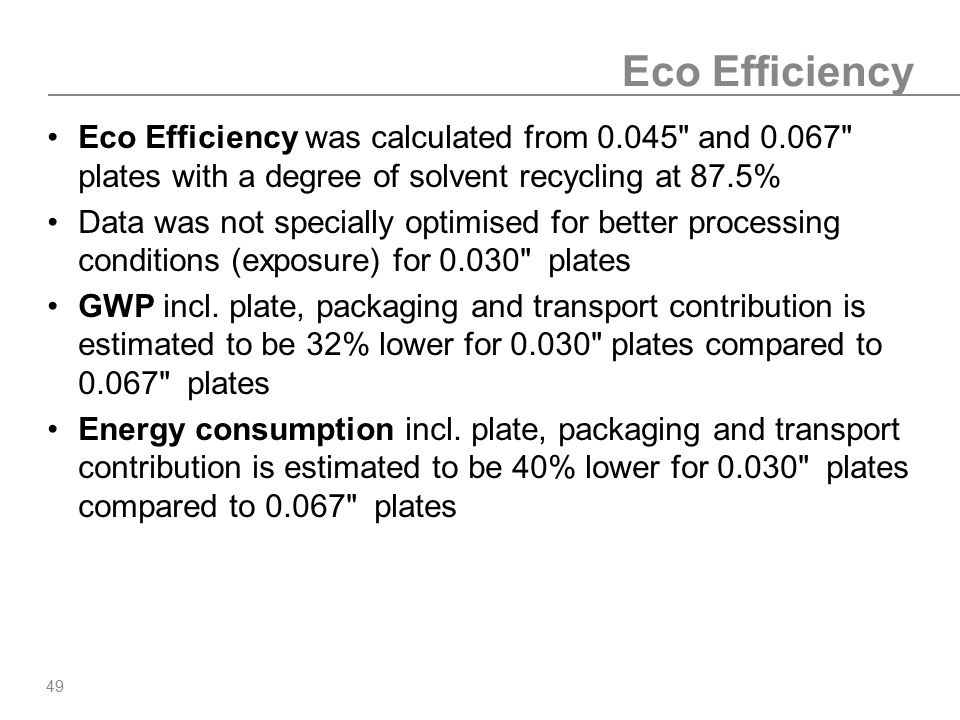 49 Eco Efficiency Eco Efficiency was calculated from 0.045