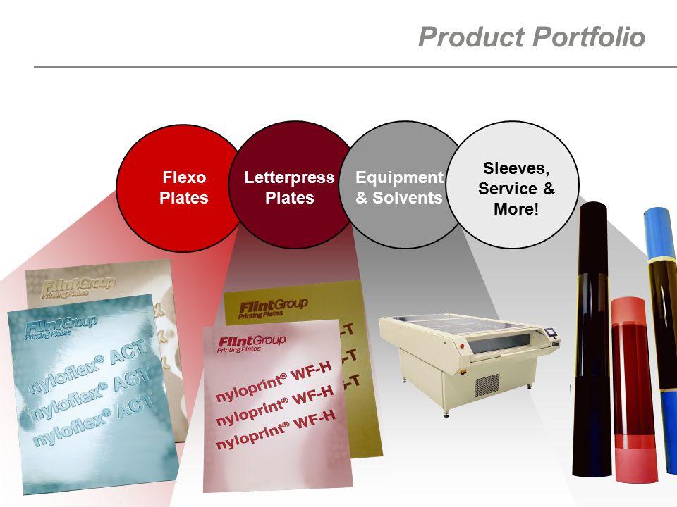 6 Product Portfolio Flexo Plates Letterpress Plates Equipment & Solvents Sleeves, Service & More!