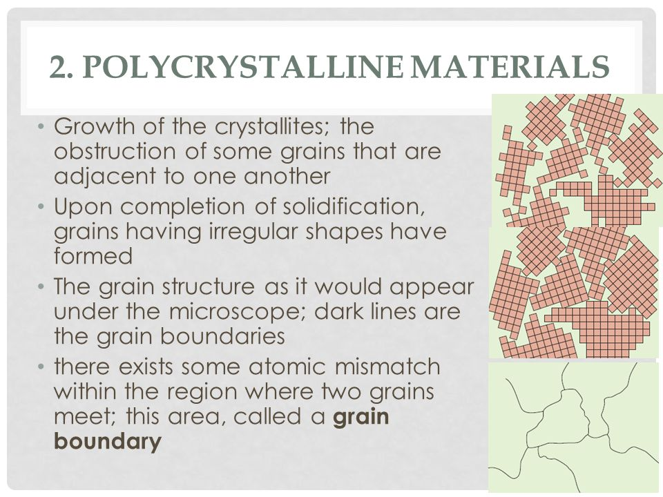 2. POLYCRYSTALLINE MATERIALS Growth of the crystallites; the obstruction of some grains that are adjacent to one another Upon completion of solidifica