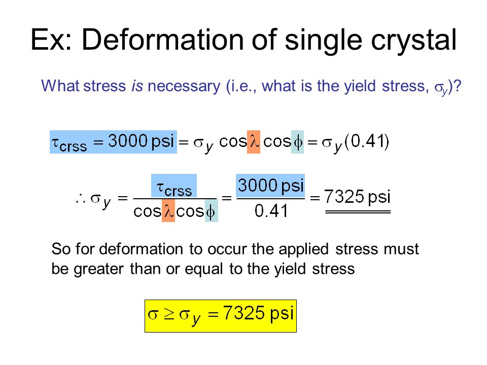 Ex: Deformation of single crystal What stress is necessary (i.e., what is the yield stress,  y )? So for deformation to occur the applied stress must