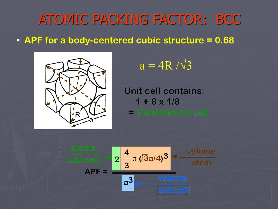 8 APF for a body-centered cubic structure = 0.68 ATOMIC PACKING FACTOR: BCC a = 4R /√3