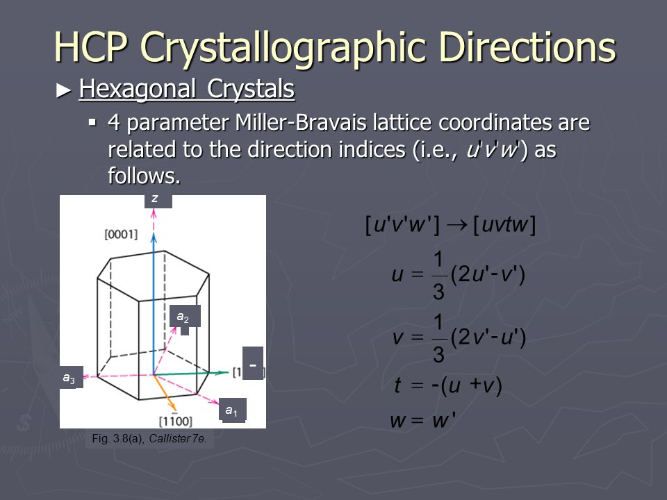HCP Crystallographic Directions ► Hexagonal Crystals  4 parameter Miller-Bravais lattice coordinates are related to the direction indices (i.e., u'v'