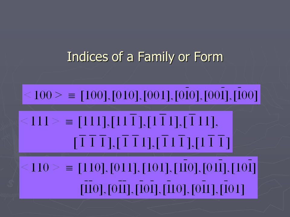 Indices of a Family or Form Indices of a Family or Form