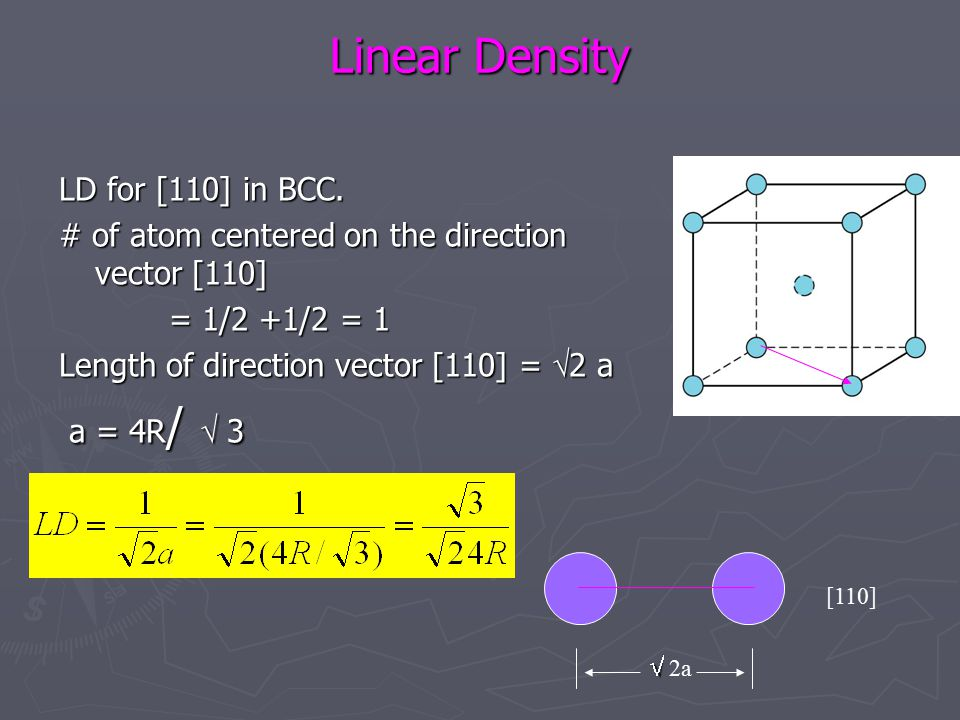 Linear Density LD for [110] in BCC. # of atom centered on the direction vector [110] = 1/2 +1/2 = 1 = 1/2 +1/2 = 1 Length of direction vector [110] =