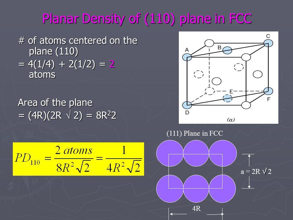 Planar Density of (110) plane in FCC # of atoms centered on the plane (110) = 4(1/4) + 2(1/2) = 2 atoms Area of the plane = (4R)(2R  2) = 8R 2 2 4R  a = 2R  2 (111) Plane in FCC