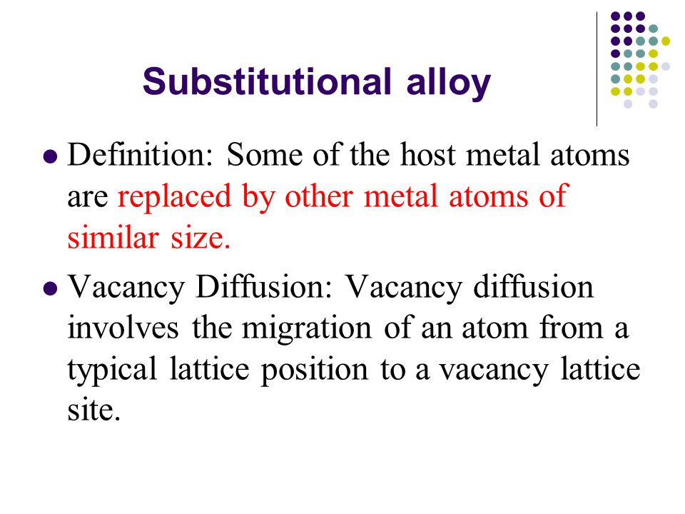 Substitutional alloy Definition: Some of the host metal atoms are replaced by other metal atoms of similar size.