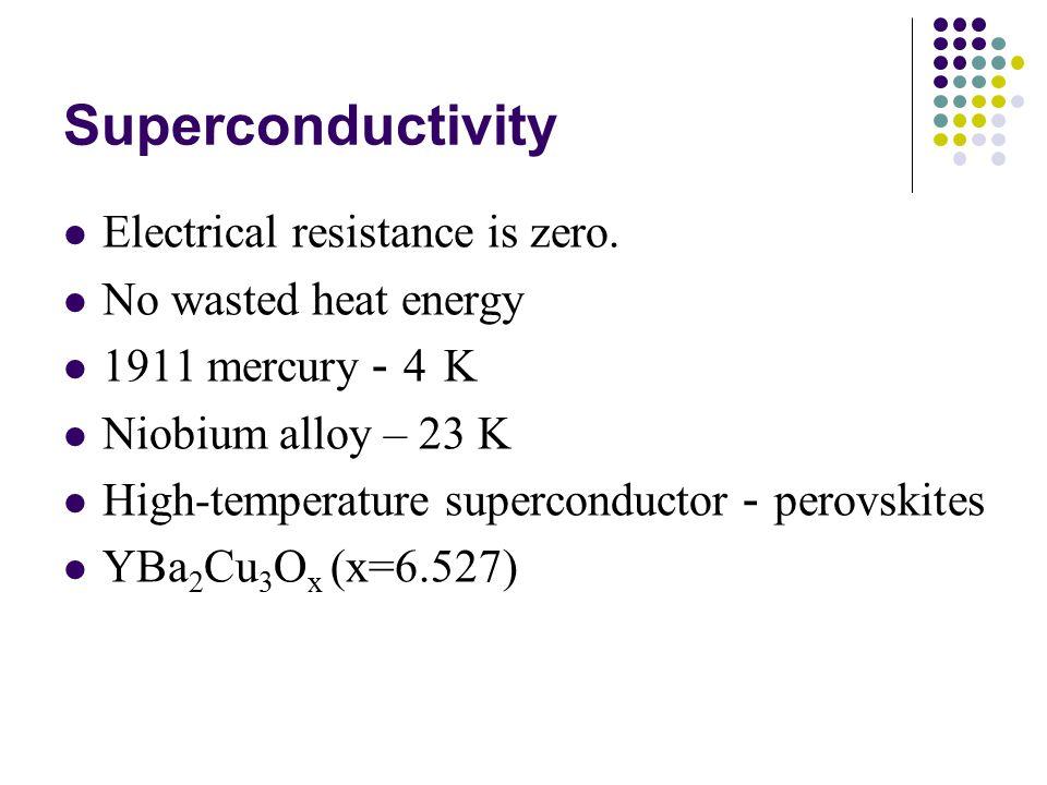 Superconductivity Electrical resistance is zero.