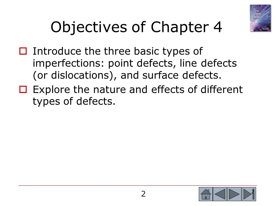 2 2 Objectives of Chapter 4  Introduce the three basic types of imperfections: point defects, line defects (or dislocations), and surface defects.