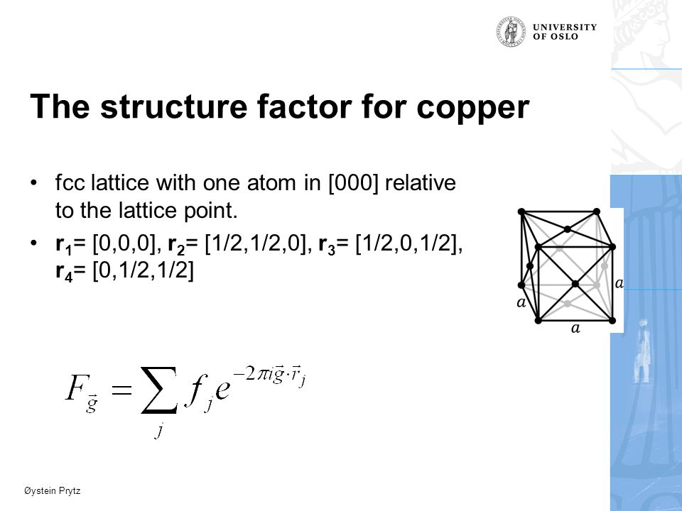 Øystein Prytz The structure factor for copper fcc lattice with one atom in [000] relative to the lattice point.