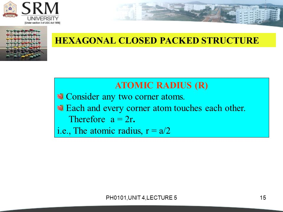 PH0101,UNIT 4,LECTURE 515 HEXAGONAL CLOSED PACKED STRUCTURE ATOMIC RADIUS (R) Consider any two corner atoms.