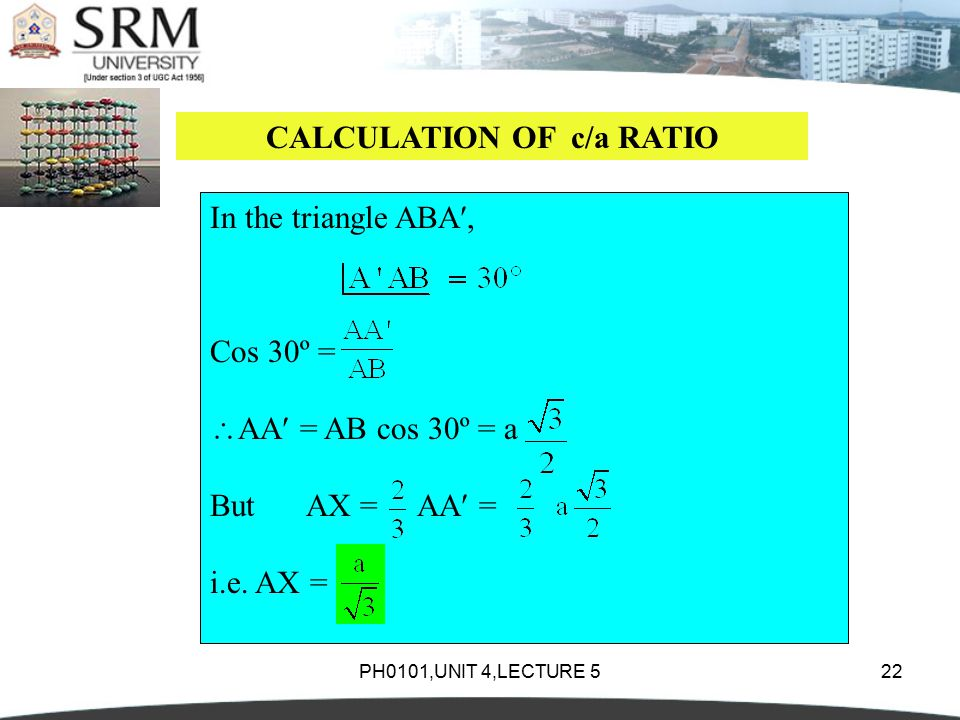 PH0101,UNIT 4,LECTURE 522 CALCULATION OF c/a RATIO In the triangle ABA, Cos 30º =  AA = AB cos 30º = a ButAX = AA = i.e.